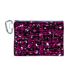 Magenta Abstract Art Canvas Cosmetic Bag (m) by Valentinaart