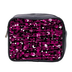 Magenta Abstract Art Mini Toiletries Bag 2 Side by Valentinaart