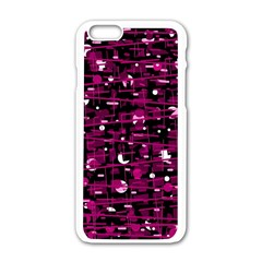Magenta Abstract Art Apple Iphone 6/6s White Enamel Case by Valentinaart