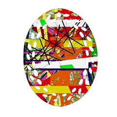 Colorful Abstraction By Moma Ornament (oval Filigree)  by Valentinaart