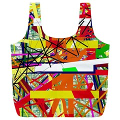 Colorful Abstraction By Moma Full Print Recycle Bags (l)  by Valentinaart
