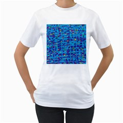 Blue Decorative Art Women s T Shirt (white) (two Sided) by Valentinaart