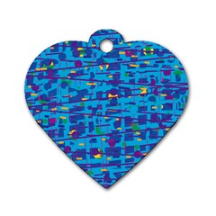 Blue Decorative Art Dog Tag Heart (one Side) by Valentinaart