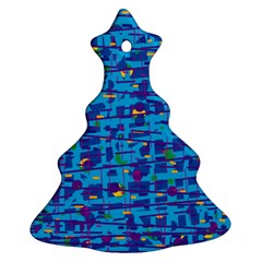 Blue Decorative Art Ornament (christmas Tree) by Valentinaart
