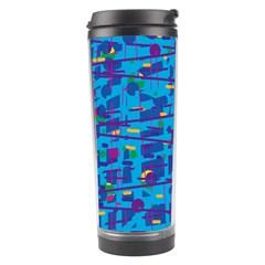 Blue Decorative Art Travel Tumbler by Valentinaart