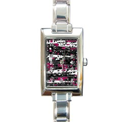 Magenta, White And Gray Decor Rectangle Italian Charm Watch by Valentinaart