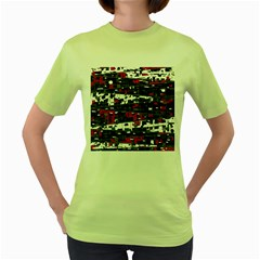 Magenta, White And Gray Decor Women s Green T Shirt by Valentinaart