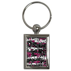 Magenta, White And Gray Decor Key Chains (rectangle)  by Valentinaart