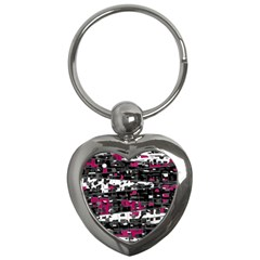 Magenta, White And Gray Decor Key Chains (heart)  by Valentinaart
