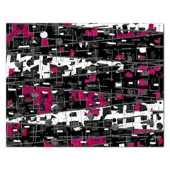 Magenta, White And Gray Decor Rectangular Jigsaw Puzzl by Valentinaart