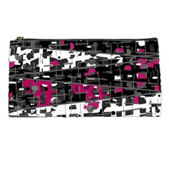 Magenta, White And Gray Decor Pencil Cases by Valentinaart