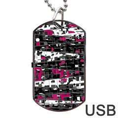 Magenta, White And Gray Decor Dog Tag Usb Flash (one Side) by Valentinaart