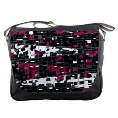 Magenta, White And Gray Decor Messenger Bags by Valentinaart