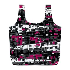 Magenta, White And Gray Decor Full Print Recycle Bags (l)  by Valentinaart
