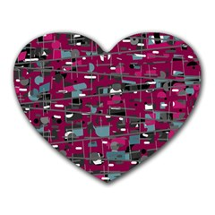 Magenta Decorative Design Heart Mousepads by Valentinaart