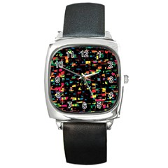 Playful Colorful Design Square Metal Watch by Valentinaart
