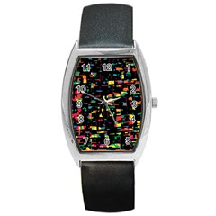 Playful Colorful Design Barrel Style Metal Watch by Valentinaart