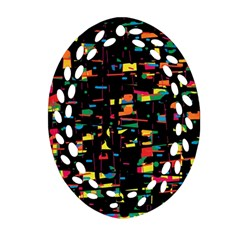 Playful Colorful Design Ornament (oval Filigree)  by Valentinaart