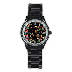 Playful Colorful Design Stainless Steel Round Watch by Valentinaart