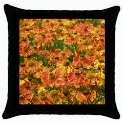 Helenium Flowers And Bees Throw Pillow Case (black) by GiftsbyNature
