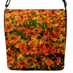 Helenium Flowers And Bees Flap Messenger Bag (s) by GiftsbyNature