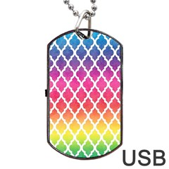 Colorful Rainbow Moroccan Pattern Dog Tag USB Flash (Two Sides)  by Zeze