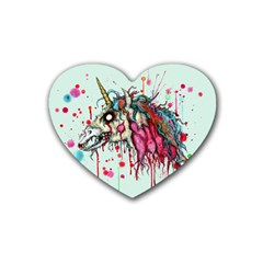 Zombie Unicorn Rubber Coaster (heart)  by lvbart