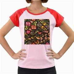 Bohemia Floral Pattern Women s Cap Sleeve T-Shirt by Zeze