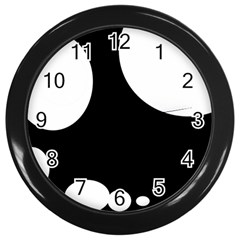 Black And White Moonlight Wall Clocks (black) by Valentinaart