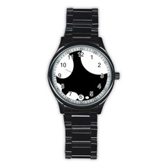 Black And White Moonlight Stainless Steel Round Watch by Valentinaart
