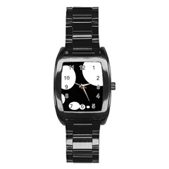 Black And White Moonlight Stainless Steel Barrel Watch by Valentinaart