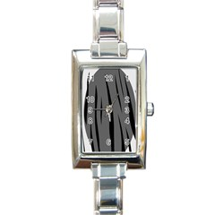 Gray, Black And White Design Rectangle Italian Charm Watch by Valentinaart