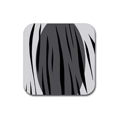 Gray, Black And White Design Rubber Coaster (square)  by Valentinaart