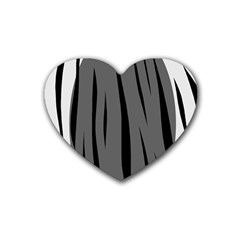 Gray, Black And White Design Heart Coaster (4 Pack)  by Valentinaart