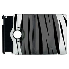 Gray, Black And White Design Apple Ipad 3/4 Flip 360 Case by Valentinaart