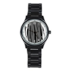 Gray, Black And White Design Stainless Steel Round Watch