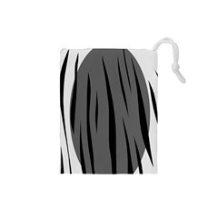 Gray, Black And White Design Drawstring Pouches (small)  by Valentinaart