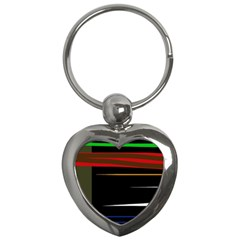 Colorful Lines  Key Chains (heart)  by Valentinaart
