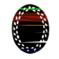 Colorful Lines  Oval Filigree Ornament (2 Side)  by Valentinaart