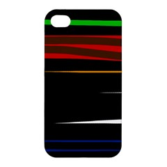 Colorful Lines  Apple Iphone 4/4s Premium Hardshell Case by Valentinaart