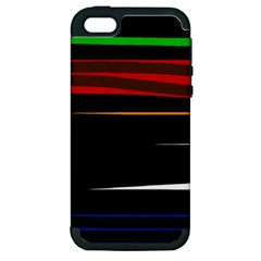 Colorful Lines  Apple Iphone 5 Hardshell Case (pc+silicone) by Valentinaart