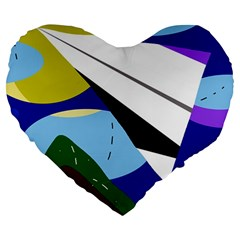 Paper Airplane Large 19  Premium Heart Shape Cushions by Valentinaart