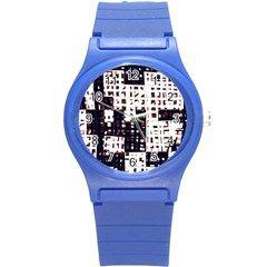 Abstract City Landscape Round Plastic Sport Watch (s) by Valentinaart