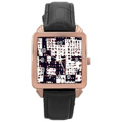 Abstract City Landscape Rose Gold Leather Watch  by Valentinaart