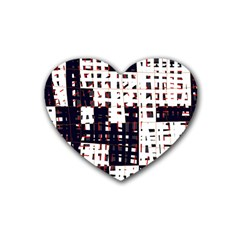 Abstract City Landscape Rubber Coaster (heart)  by Valentinaart
