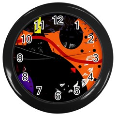 Orange Dream Wall Clocks (black) by Valentinaart