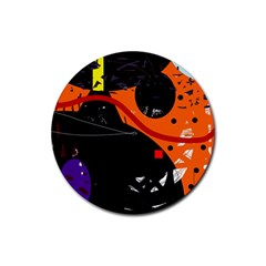 Orange Dream Rubber Coaster (round)  by Valentinaart