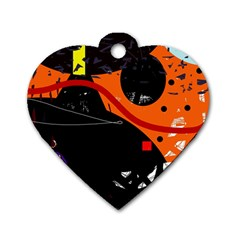 Orange Dream Dog Tag Heart (one Side) by Valentinaart