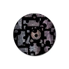 Elegant Puzzle Rubber Coaster (round)  by Valentinaart