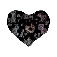 Elegant Puzzle Standard 16  Premium Flano Heart Shape Cushions by Valentinaart